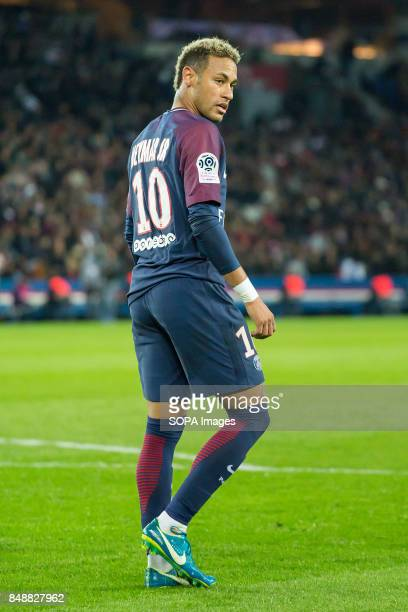 Neymar Jr during the French Ligue 1 soccer match between Paris Saint Germain and Olympique Lyonnais at Parc des Princes The match was won 20 by Paris...