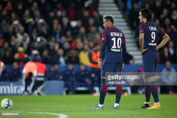 Neymar Jr Edinson Cavani of PSG during the French Ligue 1 match between Paris Saint Germain and Olympique Lyonnais at Parc des Princes on September...