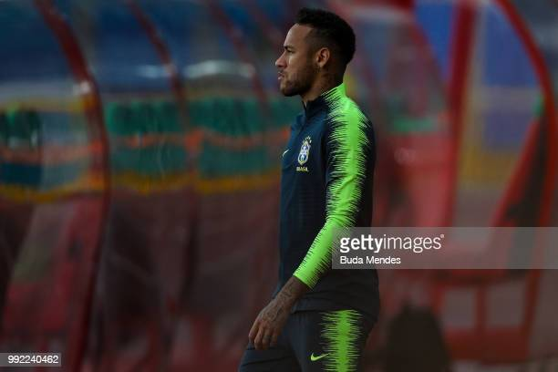 Neymar Jr enters to the field during a Brazil training session ahead of the the 2018 FIFA World Cup Russia Quarter Final match between Brazil and...
