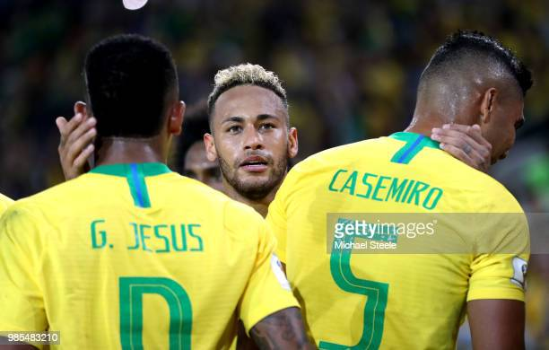 Neymar Jr Gabriel Jesus and Casemiro of Brazil celebrate after their second goal scored by Thiago Silva during the 2018 FIFA World Cup Russia group E...