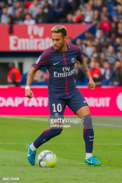 Neymar Jr in action during the French Ligue 1 soccer match between Paris Saint Germain and Bordeaux at Parc des Princes The match was won 62 by Paris...