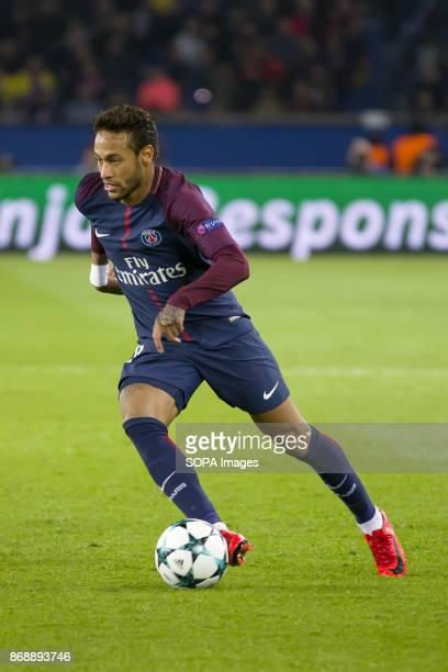 Neymar Jr in action during the UEFA Champions League soccer match between Paris Saint Germain and RSC Anderlecht at Parc des Princes