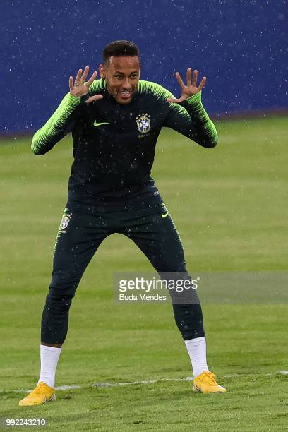 Neymar Jr jokes during a Brazil training session ahead of the the 2018 FIFA World Cup Russia Quarter Final match between Brazil and Belgium at...