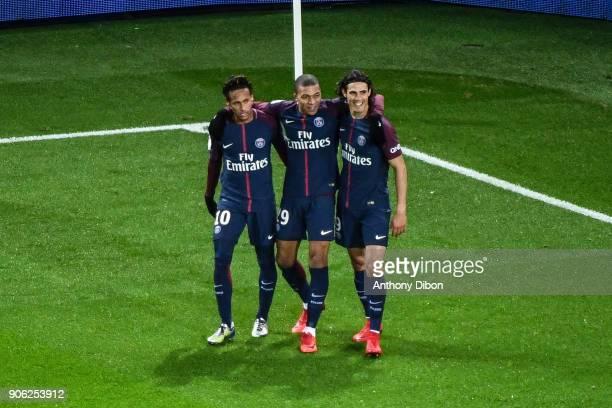 Neymar Jr Kylian Mbappe and Edinson Cavani celebrates a goal during the Ligue 1 match between Paris Saint Germain and Dijon FCO at Parc des Princes...