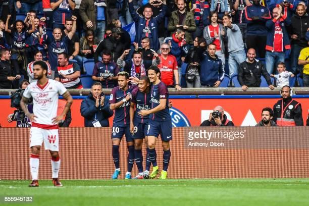 Neymar Jr Kylian Mbappe and Edinson Cavani of PSG celebrates a goal during the Ligue 1 match between Paris Saint Germain and FC Girondins de Bordeaux...