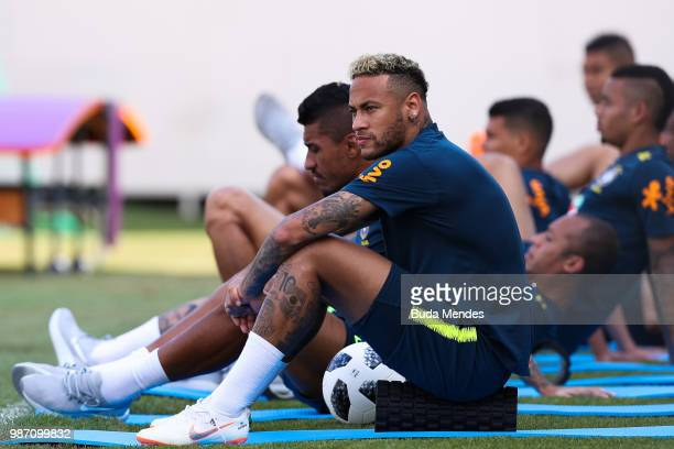 Neymar Jr looks on during a Brazil training session on June 29 2018 in Sochi Russia