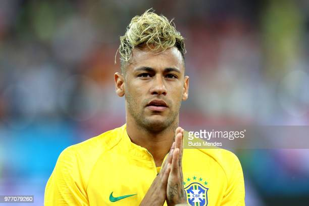 Neymar Jr looks on prior to the 2018 FIFA World Cup Russia group E match between Brazil and Switzerland at Rostov Arena on June 17 2018 in...