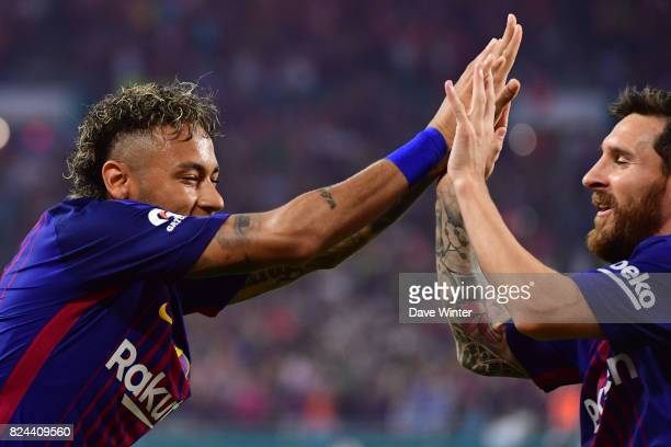 Neymar Jr of Barcelona and Lionel Messi of Barcelona during the International Champions Cup match between Barcelona and Real Madrid at Hard Rock...