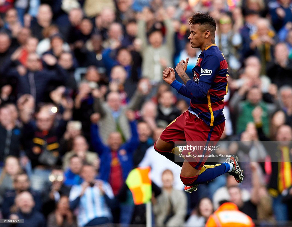 Neymar JR of Barcelona celebrates scoring his team's fifth goal during the La Liga match between FC Barcelona and Getafe CF at Camp Nou on March 12, 2016 in Barcelona, Spain.