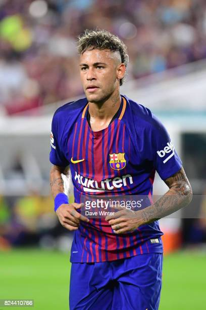Neymar Jr of Barcelona during the International Champions Cup match between Barcelona and Real Madrid at Hard Rock Stadium on July 29 2017 in Miami...