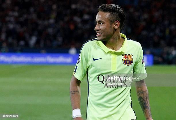 Neymar jr of Barcelona FC during the UEFA Champions League Quarter Final First leg between Paris SaintGermain and Barcelona FC at Parc Des Princes on...