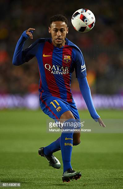 Neymar JR of Barcelona in action during the Copa del Rey Round of 16 Second Leg match between FC Barcelona and Athletic Club at Camp Nou on January...