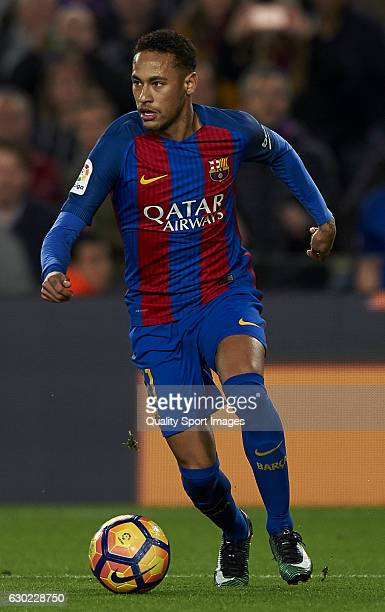 Neymar Jr of Barcelona in action during the La Liga match between FC Barcelona and RCD Espanyol at Camp Nou Stadium on December 18 2016 in Barcelona...