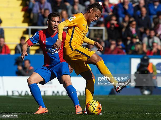 Neymar JR of Barcelona in action during the La Liga match between Levante UD and FC Barcelona at Ciutat de Valencia on February 07 2016 in Valencia...