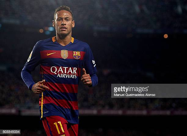 Neymar JR of Barcelona looks on during the La Liga match between FC Barcelona and Real Betis Balompie at Camp Nou on December 30 2015 in Barcelona...