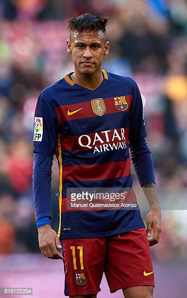 Neymar JR of Barcelona looks on during the La Liga match between FC Barcelona and Getafe CF at Camp Nou on March 12 2016 in Barcelona Spain
