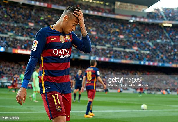 Neymar JR of Barcelona reacts during the La Liga match between FC Barcelona and Getafe CF at Camp Nou on March 12 2016 in Barcelona Spain