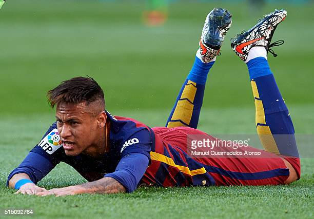 Neymar JR of Barcelona reacts on the pitch during the La Liga match between FC Barcelona and Getafe CF at Camp Nou on March 12 2016 in Barcelona Spain