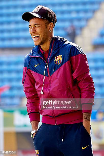 Neymar JR of Barcelona smiles prior to the La Liga match between Villarreal CF and FC Barcelona at El Madrigal on March 20 2016 in Villarreal Spain