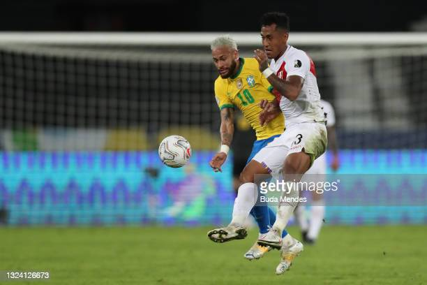 Neymar Jr. Of Brazil and Renato Tapia of Peru compete for the ball during a match between Brazil and Peru as part of Group B of Copa America Brazil...