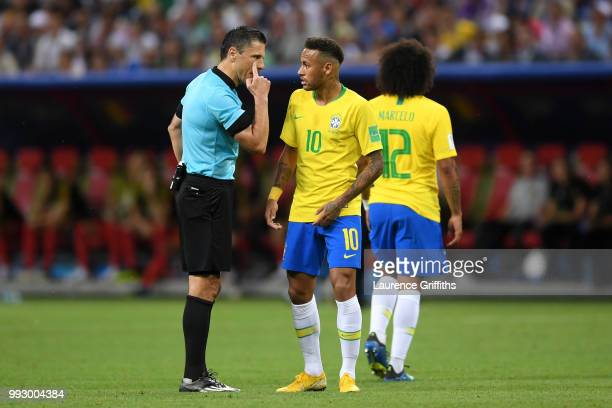 Neymar Jr of Brazil argues with Referee Milorad Mazic during the 2018 FIFA World Cup Russia Quarter Final match between Brazil and Belgium at Kazan...