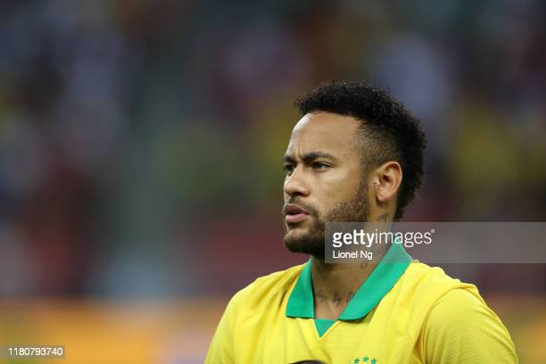 Neymar Jr of Brazil at the national anthem during the international friendly match between Brazil and Nigeria at the Singapore National Stadium on...