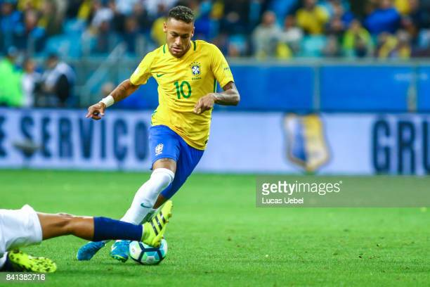 Neymar Jr of Brazil battles for the ball against Pedro Quinonez of Equador during the match Brazil v Equador 2018 FIFA World Cup Russia Qualifier at...