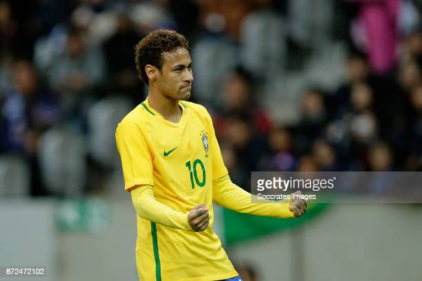 Neymar Jr of Brazil celebrate 01 during the International Friendly match between Japan v Brazil at the Stade Pierre Mauroy on November 10 2017 in...