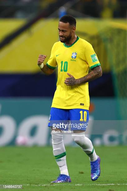 Neymar Jr. Of Brazil celebrates after scoring celebrates the first goal of his team a match between Brazil and Uruguay as part of South American...