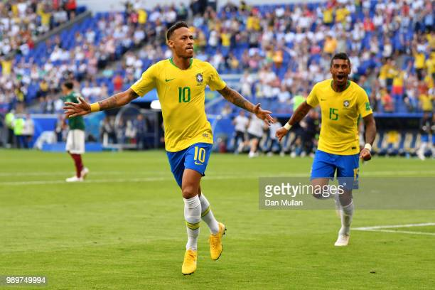Neymar Jr of Brazil celebrates after scoring his team's first goal during the 2018 FIFA World Cup Russia Round of 16 match between Brazil and Mexico...