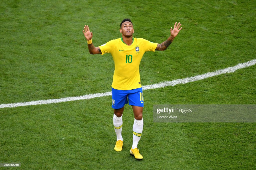 Neymar Jr of Brazil celebrates after scoring his team's first goal during the 2018 FIFA World Cup Russia Round of 16 match between Brazil and Mexico at Samara Arena on July 2, 2018 in Samara, Russia.