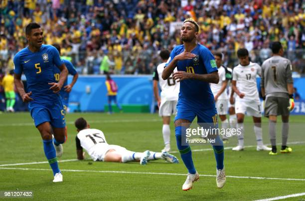 Neymar Jr of Brazil celebrates after scoring his team's second goal during the 2018 FIFA World Cup Russia group E match between Brazil and Costa Rica...