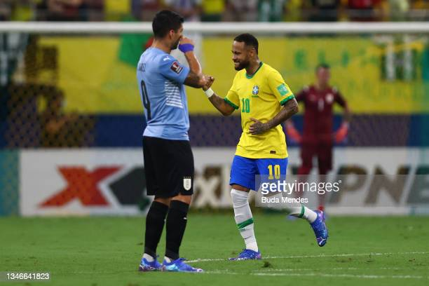 Neymar Jr. Of Brazil celebrates after scoring the first goal of his team during a match between Brazil and Uruguay as part of South American...