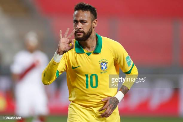 Neymar Jr. Of Brazil celebrates after scoring the fourth goal of his team during a match between Peru and Brazil as part of South American Qualifiers...
