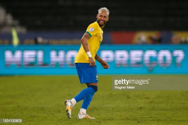 Neymar Jr. Of Brazil celebrates after scoring the second goal of his team during a match between Brazil and Peru as part of Group B of Copa America...