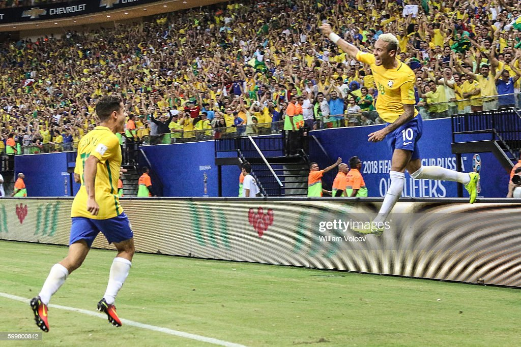 Neymar Jr of Brazil celebrates after scoring the second goal of his team during a match between Brazil and Colombia as part of FIFA 2018 World Cup Qualifiers at Arena Amazonia Stadium on September 06, 2016 in Manaos, Brazil.