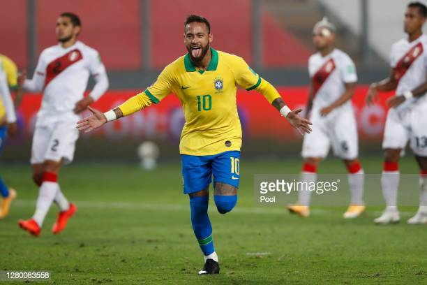 Neymar Jr. Of Brazil celebrates after scoring the third goal of his team during a match between Peru and Brazil as part of South American Qualifiers...