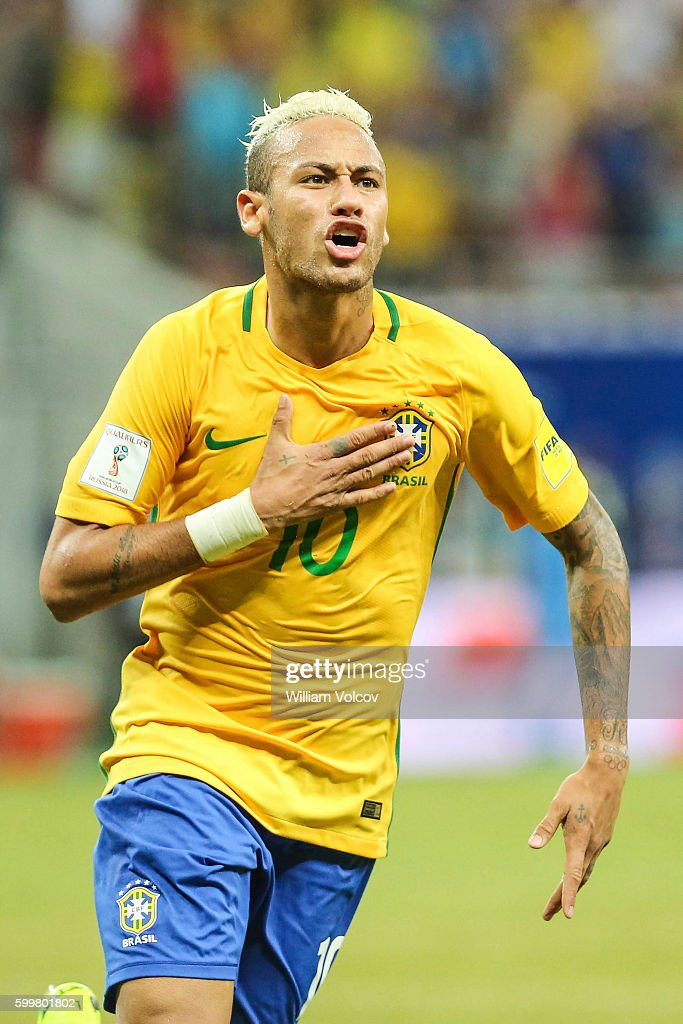 Neymar Jr of Brazil celebrates after soring the second goal of his team during a match between Brazil and Colombia as part of FIFA 2018 World Cup Qualifiers at Arena Amazonia Stadium on September 06, 2016 in Manaos, Brazil.