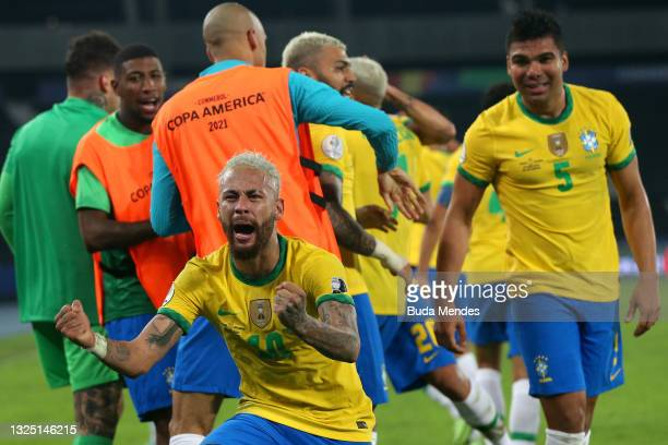 Neymar Jr. Of Brazil celebrates after winning the Group B match between Brazil and Colombia as part of Copa America Brazil 2021 at Estadio Olímpico...