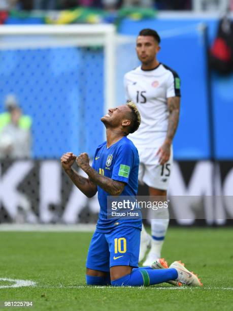 Neymar Jr of Brazil celebrates his side's 20 win after the 2018 FIFA World Cup Russia group E match between Brazil and Costa Rica at Saint Petersburg...