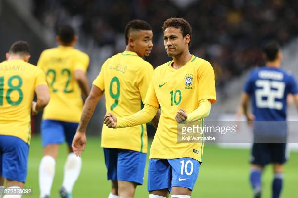 Neymar jr of Brazil celebrates scores his side's first PK goal during the international friendly match between Brazil and Japan at Stade PierreMauroy...