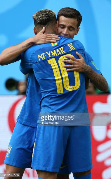 Neymar Jr of Brazil celebrates scoring the second goal of his team with Philippe Coutinho during the 2018 FIFA World Cup Russia group E match between...