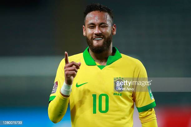 Neymar Jr. Of Brazil celebrates the first goal of his team with a penalty kick during a match between Peru and Brazil as part of South American...