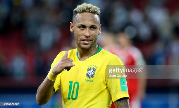 Neymar Jr of Brazil celebrates the victory following the 2018 FIFA World Cup Russia group E match between Serbia and Brazil at Spartak Stadium on...