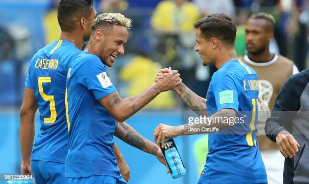 Neymar Jr of Brazil celebrates the victory with Philippe Coutinho following the 2018 FIFA World Cup Russia group E match between Brazil and Costa...