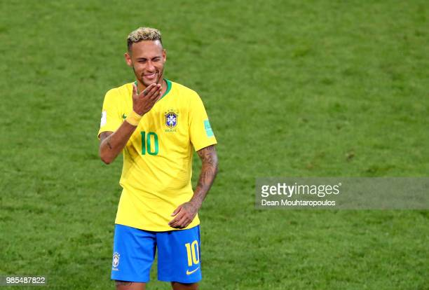 Neymar Jr of Brazil celebrates victory folllowing the 2018 FIFA World Cup Russia group E match between Serbia and Brazil at Spartak Stadium on June...