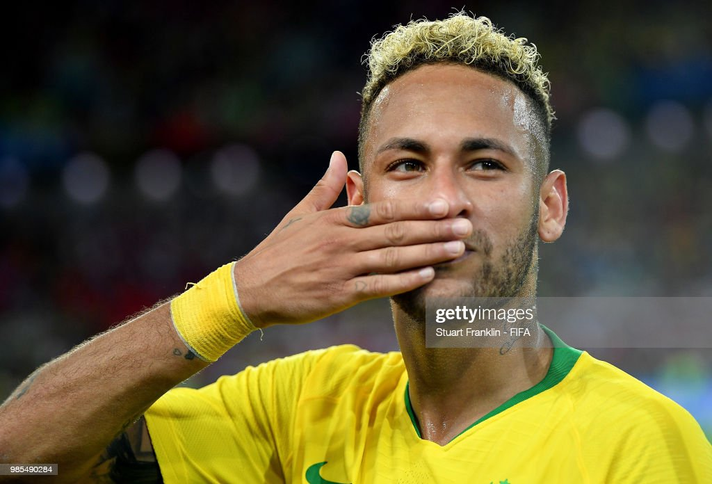 Neymar Jr of Brazil celebrates victory folllowing the 2018 FIFA World Cup Russia group E match between Serbia and Brazil at Spartak Stadium on June 27, 2018 in Moscow, Russia.