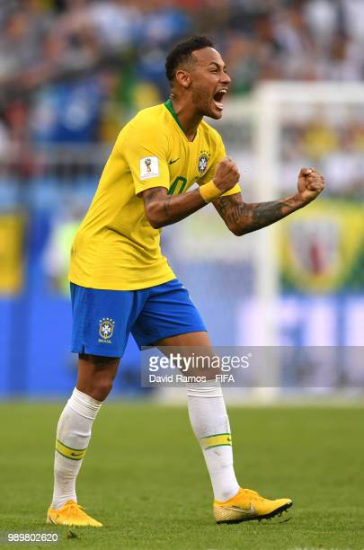 Neymar Jr of Brazil celebrates victory following the 2018 FIFA World Cup Russia Round of 16 match between Brazil and Mexico at Samara Arena on July...