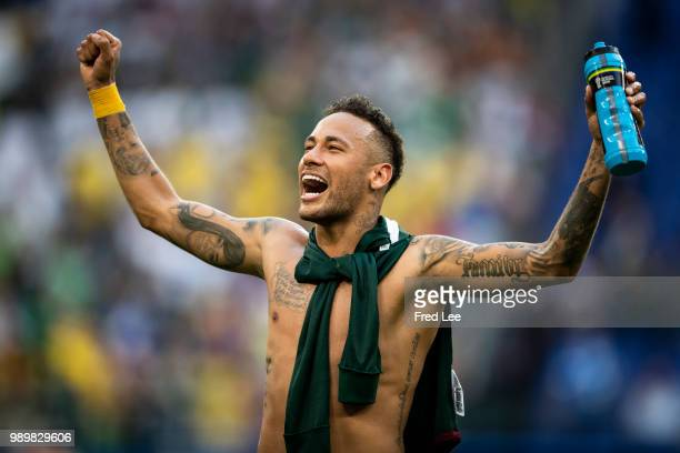 Neymar Jr of Brazil celebrates victory following the 2018 FIFA World Cup Russia Round of 16 match between Brazil and Mexico at Samara Arena on July 2...