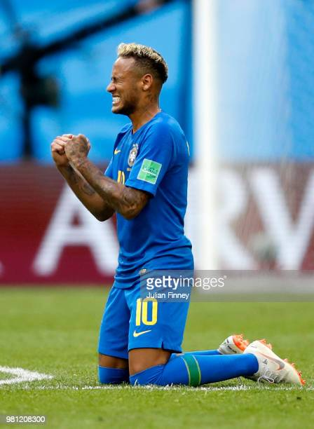 Neymar Jr of Brazil celebrates victory folowing the 2018 FIFA World Cup Russia group E match between Brazil and Costa Rica at Saint Petersburg...